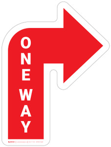 One Way Arrow Red (Right) - Floor Sign