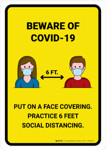 Beware Of COVID-19 with Icons Yellow Portrait - Wall Sign