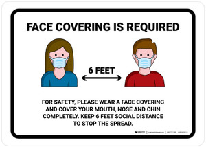 Face Covering Is Required 6 Feet with Icons Landscape - Wall Sign