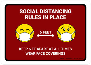 Social Distancing Rules In Place with Emojis Red Landscape - Wall Sign