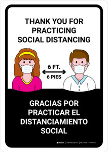 Thank You For Practicing Social Distancing Bilingual with Icons Landscape - Wall Sign