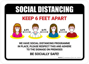 Social Distancing Keep 6 Feet Apart with Icons Landscape - Wall Sign