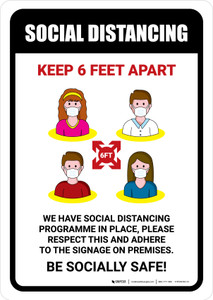 Social Distancing Keep 6 Feet Apart with Icons Portrait - Wall Sign