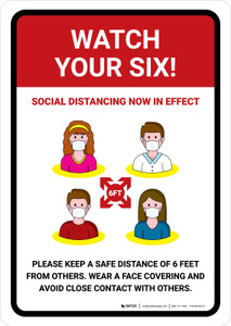 Watch Your Six Social Distancing Now In Effect with Icons Portrait - Wall Sign