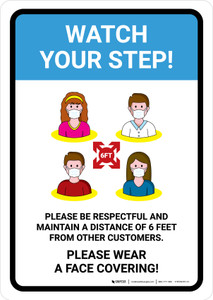 Watch Your Step Social Distancing with Icons Portrait - Wall Sign