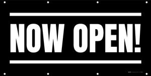 Now Open! Black White - Banner