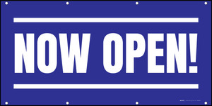 Now Open! Blue White - Banner