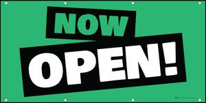 Now Open! Green Black White - Banner