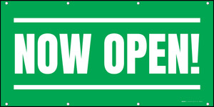 Now Open! Green White - Banner
