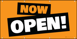 Now Open! Orange Black White - Banner