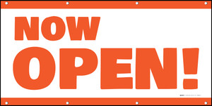 Now Open! Orange White - Banner