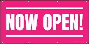 Now Open! Pink White - Banner