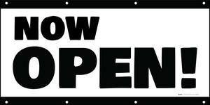 Now Open! White Black - Banner