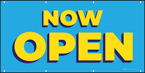 Now Open Blue Yellow - Banner