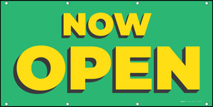 Now Open Green Yellow - Banner