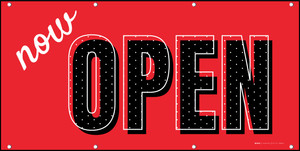 Now Open Red Black Polka Dots - Banner