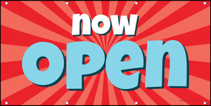Now Open Retro Red Blue - Banner