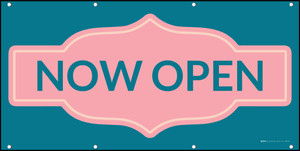 Now Open with Frame Blue Pink - Banner