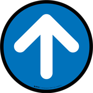 Up Arrow Blue Circular - Floor Sign