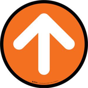 Up Arrow Orange Circular - Floor Sign