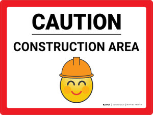Caution Construction Area with Emoji Landscape - Wall Sign