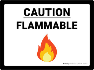 Caution Flammable with Emoji Landscape - Wall Sign