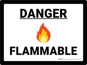 Danger Flammable with Emoji Landscape - Wall Sign
