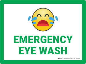 Emergency Eye Wash with Emoji Green Landscape - Wall Sign