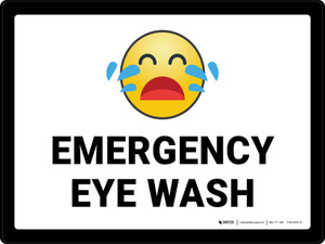 Emergency Eye Wash with Emoji Landscape - Wall Sign