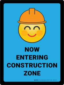 Now Entering Construction Zone with Emoji Blue Portrait - Wall Sign