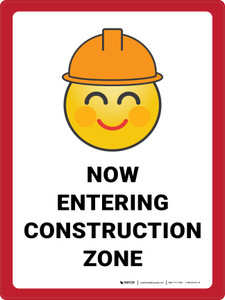 Now Entering Construction Zone with Emoji Portrait - Wall Sign