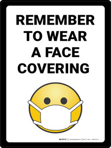 Remember to Use Face Covering with Emoji Portrait - Wall Sign