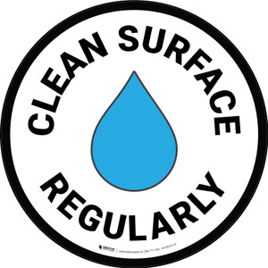 Clean Surface Regularly with Emoji Circular - Floor Sign