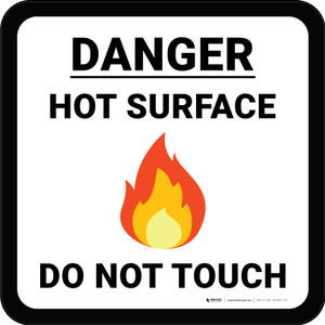 Danger Hot Surface Do Not Touch with Emoji Square - Floor Sign