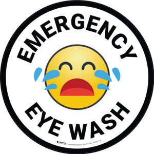Emergency Eye Wash with Emoji Circular - Floor Sign