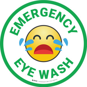 Emergency Eye Wash with Emoji Green Circular - Floor Sign
