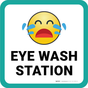 Eye Wash Station with Emoji Square - Floor Sign