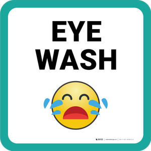 Eye Wash with Emoji Square - Floor Sign