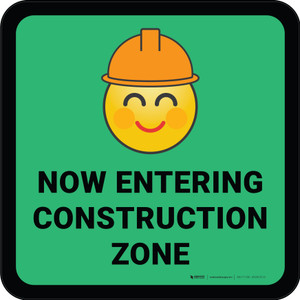 Now Entering Construction Zone with Emoji Green Square - Floor Sign