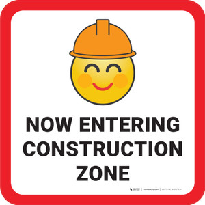 Now Entering Construction Zone with Emoji Square - Floor Sign