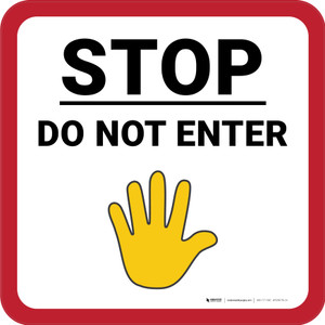 Stop Do Not Enter with Emoji Square - Floor Sign