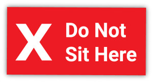 Do Not Sit Here X Symbol - Label