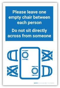 Please Leave One Empty Chair Between Each Person - Label