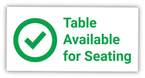 Table Available for Seating with Checkmark - Label