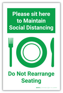 Please Sit Here to Maintain Social Distancing - Do Not Rearrange Seating - Label