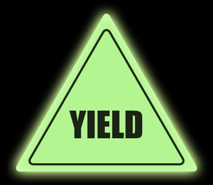 Glow in the Dark Yield Floor Sign