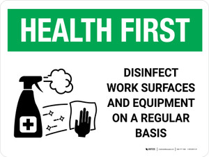 Health First: Disinfect Work Surfaces with Icon Landscape - Wall Sign