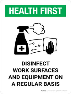 Health First: Disinfect Work Surfaces with Icon Portrait - Wall Sign