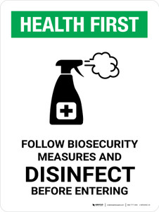 Health First: Follow Biosecurity Measures with Icon Portrait - Wall Sign