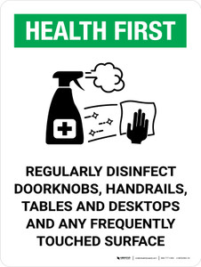 Health First: Regularly Disinfect Surfaces with Icon Portrait - Wall Sign
